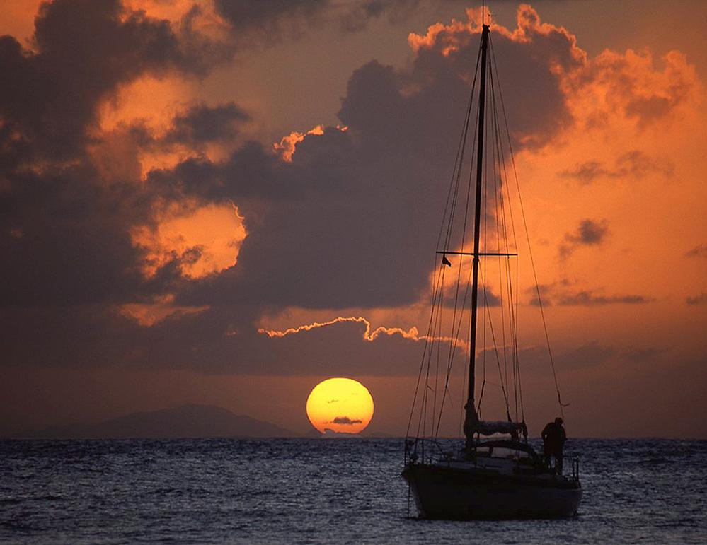 Antigua Yacht in Sunset