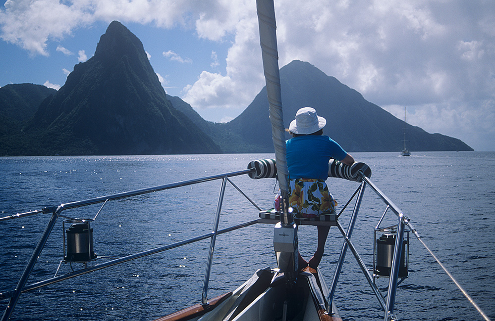 St Lucia Approaching the Pitons