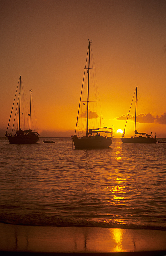 St Lucia Yachts in Sunset