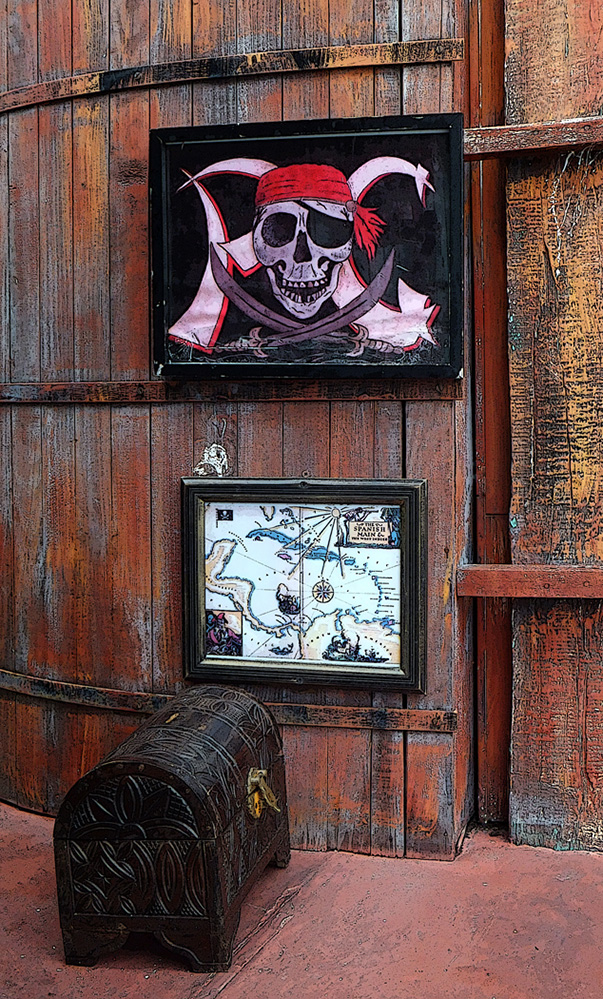St Vincent and the Grenadines Pirate Sign and Chest, Port Elizabeth, Bequia