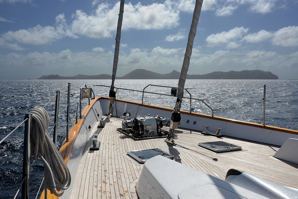 St Vincent and the Grenadines Yacht Approaching Isle de Quatre