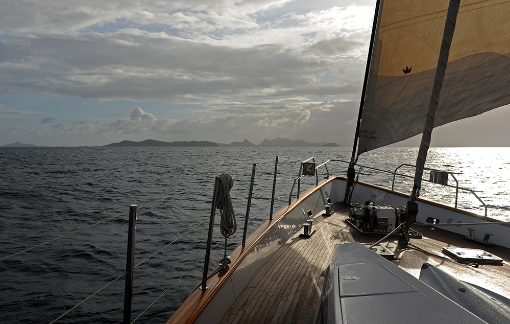 St Vincent and the Grenadines Yacht Approaching the Southern Grenadines