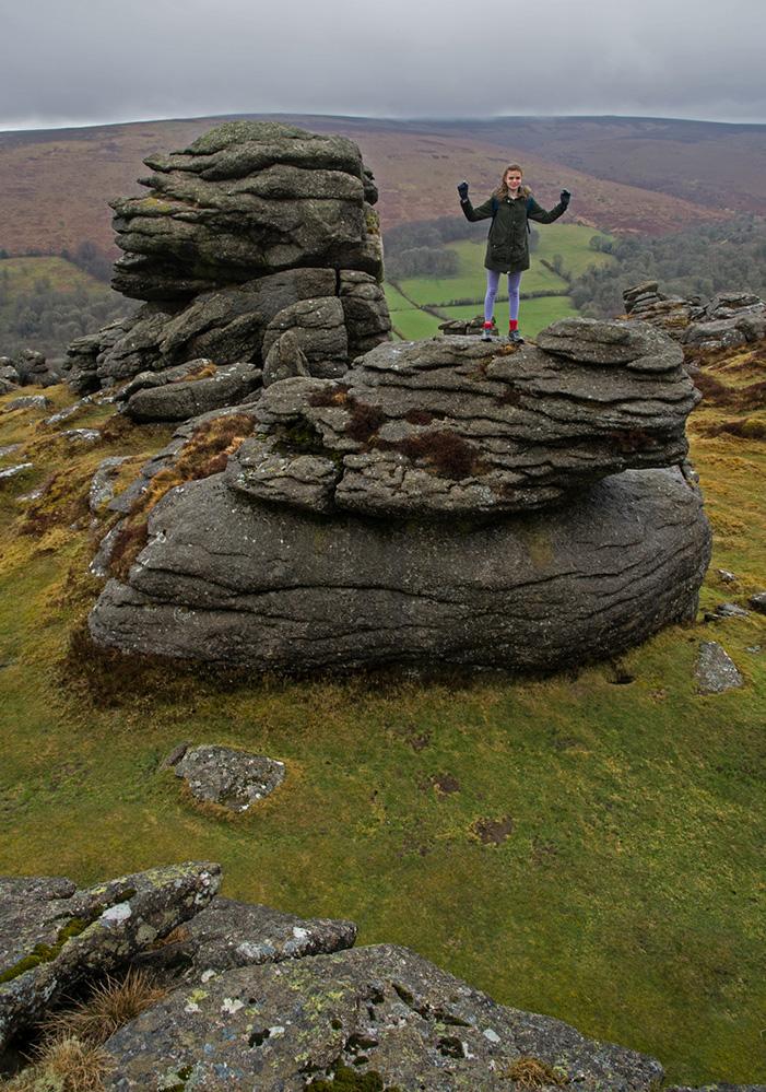 Standing on Honeybag Tor, Dartmoor