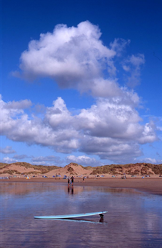 Surfboard and Clouds, Saunton Sands