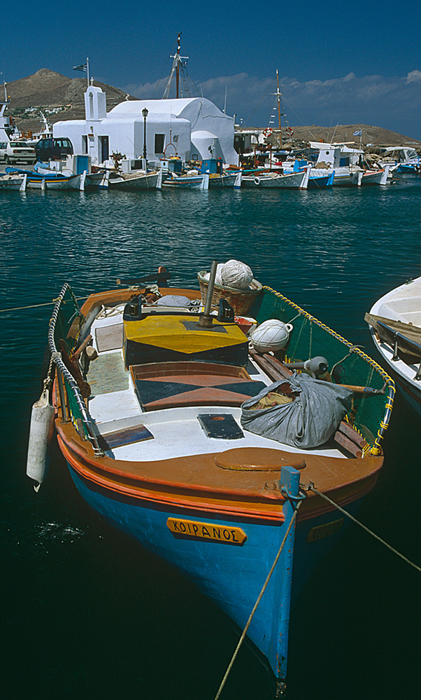 Boats and Church, Naousa Harbour, Paros