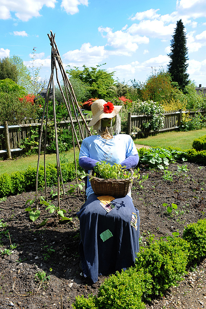 Furzey Gardens New Forest 'Flossie' Scarecrow in the Cottage Garden
