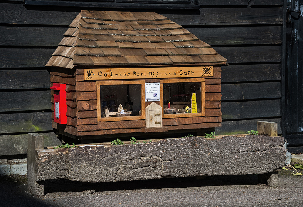 Furzey Gardens New Forest Fairy Door 'Cobwebs Post Office & Cafe'