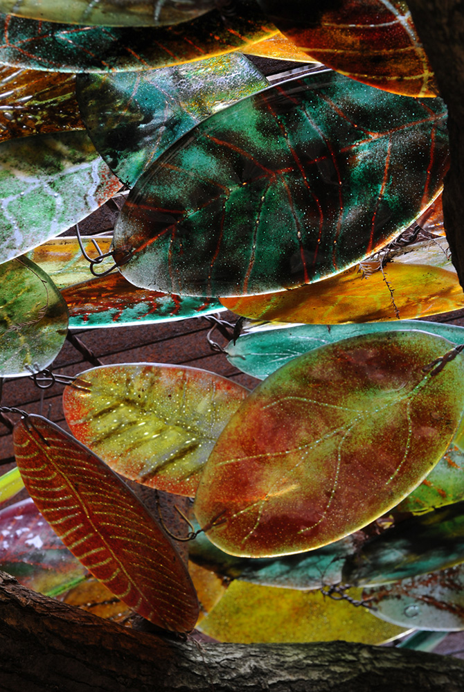 Furzey Gardens New Forest Glass Leaves in the Chelsea Garden Lantern