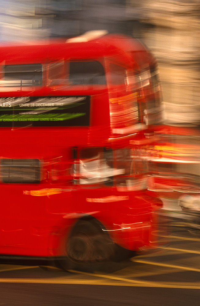 Speeding Red Bus