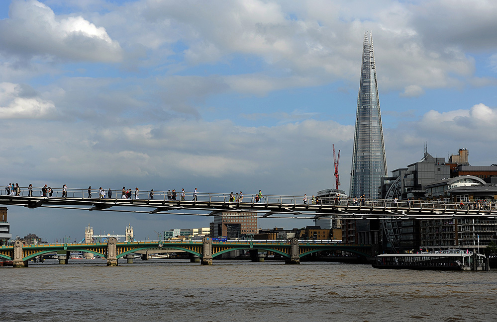 The Shard over the Millennium Bridge