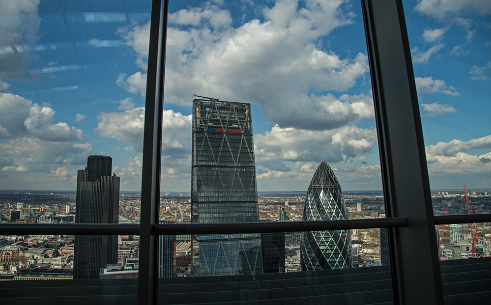 View to City Skyscrapers from the Heron Tower