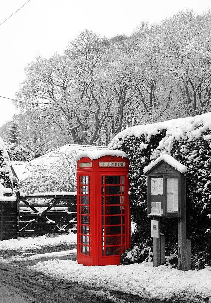 Phone Box in the Snow, Newbridge, New Forest