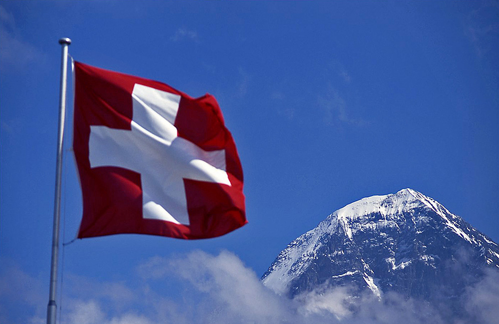 Swiss Flag and Eiger, Swiss Alps