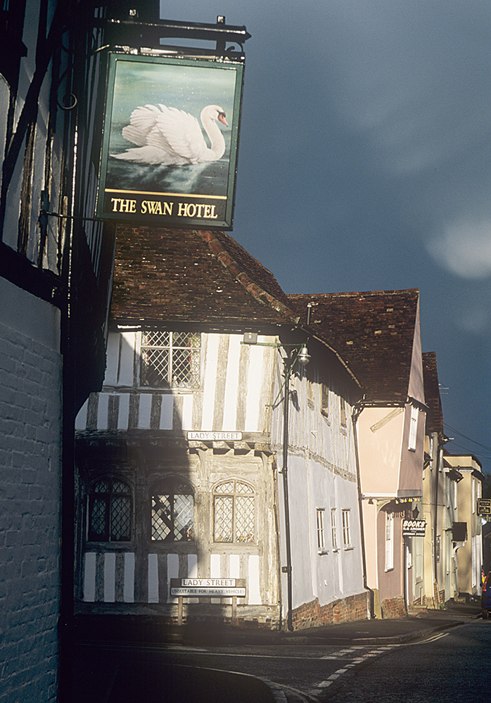 Swan Hotel Sign and Tudor Houses, Lavenham