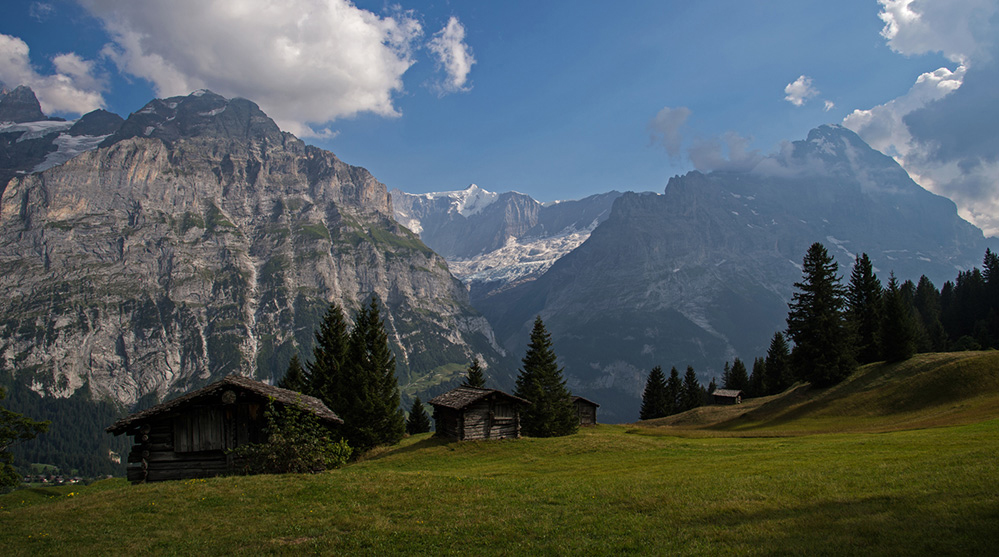 Barns and the EIger above Grindelwald