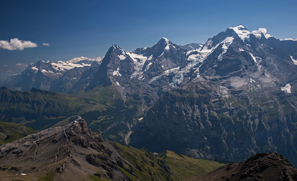 Eiger, Monch and Jungfrau from Schilthorn