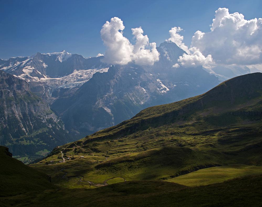 Fiescherhorn and Eiger from above First