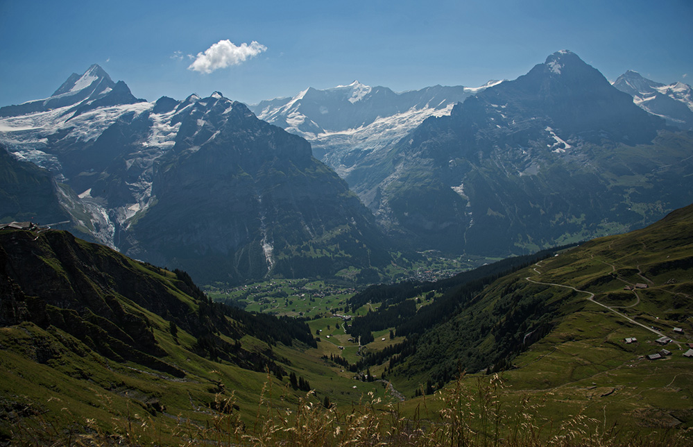 Schreckhorn, Fiescherhorn, Eiger & Jungfrau above Grindelwald