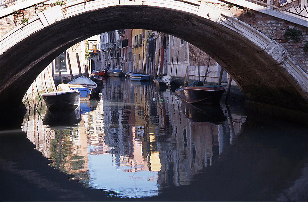 Bridge and Reflections in Canal, San Polo
